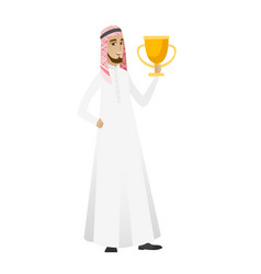 Muslim businessman holding a trophy vector