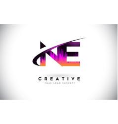 Ne n e grunge letter logo with purple vibrant vector