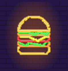 neon light glowing icon of burger vector image