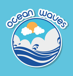 Ocean waves with lanscape clouds design vector