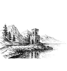 Old castle on a river bank landscape vector