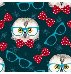 Owl with glasses seamless vector image