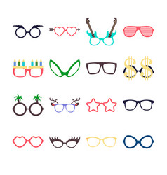 Party colorful sunglasses icon set in flat style vector