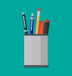 pens pencil in holder vector image