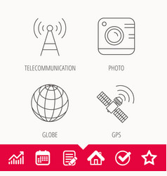 Photo camera globe and gps satellite icons vector