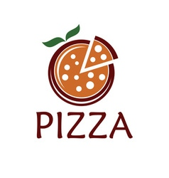pizza with leaves design template vector image