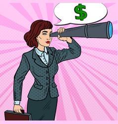 Pop art business woman looking in spyglass vector