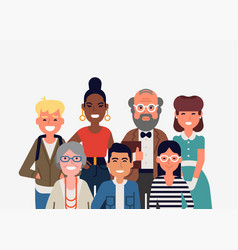 Portrait diverse group people vector