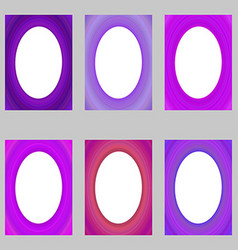 Purple abstract digital art brochure frame set vector