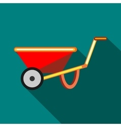 Red wheelbarrow icon flat style vector