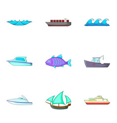 Rest on water icons set cartoon style vector