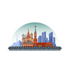 Russia moscow icon in flat style vector