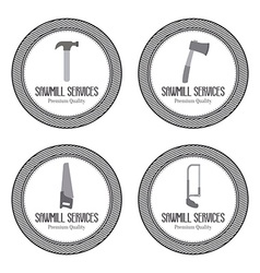 Sawmill labels objects vector image