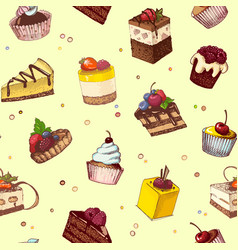 seamless background with sketches of cakes vector image