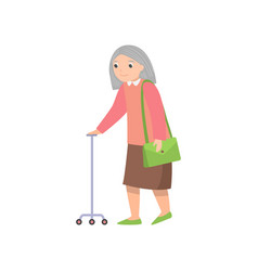 senior woman walking with metal stick and green vector image