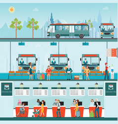 Set of bus limousine with people buying ticket vector