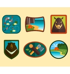 Set of Camping Equipment Symbols vector image