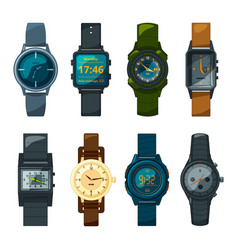 set of different hand watch for male and female vector image vector image