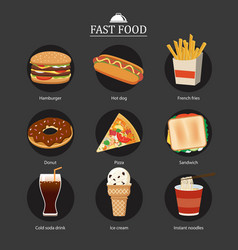 set of fast food with chalkboard background vector image