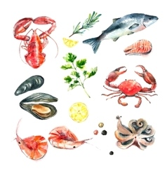 Set of seafood watercolor vector