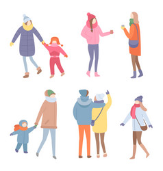 set of standing people in warm clothes vector image