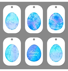 Set of tags for Easter Watercolor silhouettes eggs vector image