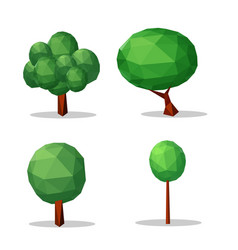 set of trees low poly style design element vector image