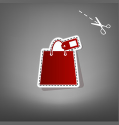shopping bag sign with tag red icon with vector image