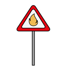 signal with fire flame isolated icon vector image