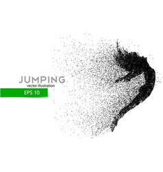 Silhouette of a jumping girl from particles vector