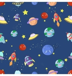 Space seamless pattern cartoon vector image