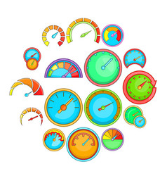 speedometer icons set cartoon style vector image