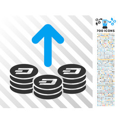 Spend dash coins flat icon with bonus vector