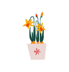 spring daffodils flowers in flowerpot beautiful vector image