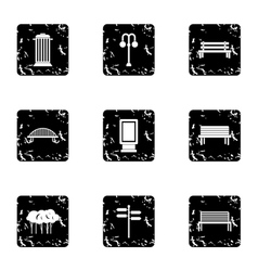 Square icons set grunge style vector