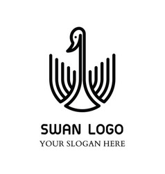 swan logo design template linear style vector image