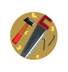 symbols of the carpenter profession carpentry vector image