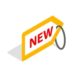 Tag new icon isometric 3d style vector