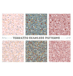 terrazzo seamless patterns vector image