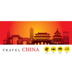 Travel China City Silhouette with Icons vector