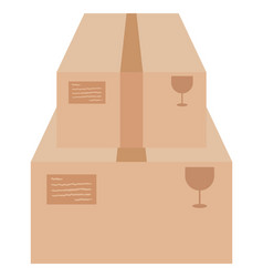 Two cardboard boxes on white vector
