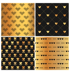 Valentines Day Gold Heart Patterns vector