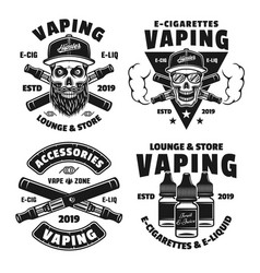 vaping and electronic cigarettes emblems vector image