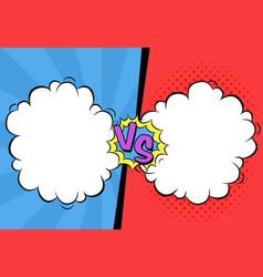 Versus letters with speech bubbles in comic pop vector