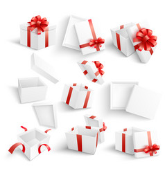 white gift boxes set in vector image