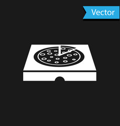white pizza in cardboard box icon isolated on vector image
