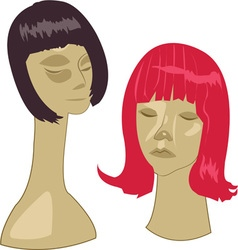 Wigs On Stands vector