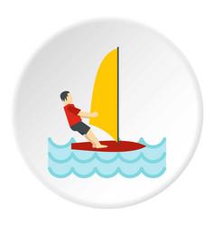 windsurfing icon circle vector image