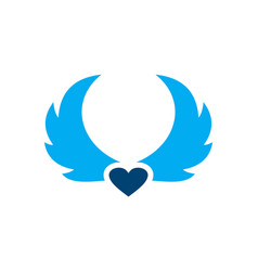 wings blue heart love logo icon vector image