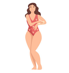 woman in swimsuit applying spf lotion on shoulder vector image
